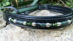 "16"" Horse size black padded bling beaded browband green jade swarovski dressage"