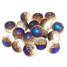 Böhmische Glasperlen: 15 runde Glasperlen Pfauenauge Blue Iris AB   8mm *pe1411