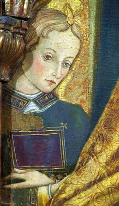 Vittore Crivelli - Angelo, dettaglio Madonna in trono (pentittico) - Capodarco di Fermo, chiesa di Santa Maria