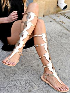 Sandals- Women's Gladiator Sandals, Greek Sandals, Knee High Oplitis Sandals, Women's Shoes, Strappy Sandals