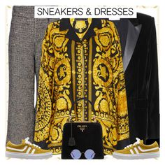 """Style's Tip: How to wear a Versace Blouse?"" by marymary91 ❤ liked on Polyvore featuring Rachel Comey, Yves Saint Laurent, Versace, Prada, Ray-Ban and polyvoreeditorial"