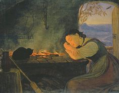 Credit: Girl Sleeping by the Fire, 1843 (oil on canvas), Wasmann, Rudolph Friedrich (1805-86) / Hamburger Kunsthalle, Hamburg, Germany / The Bridgeman Art Library