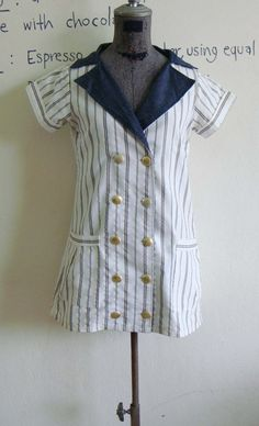 Vintage stripe blouse thin Jacket Outer 70s blue by DressNumber9, $9.00