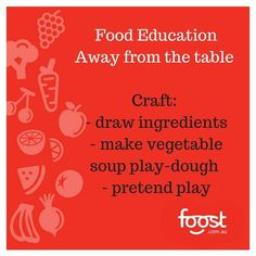 #Foodeducation tip for the day. Craft! Veggie craft is awesome and fun! How about drawing ingredients. Also try cutting things in half and drawing them (lemon or kiwi or eggplant is interesting to draw the middle of). Make pretend veggie soup or fruit salad out of play dough! Google veggie craft and you will be blown away with your ideas and printables! Use vegetables are stamps! How you have veggie craft ideas to share?  #craft #veggielovingkids #healthytips