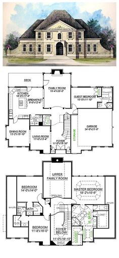 House Plan 98220 | Total living area: 3093 sq ft, 4 bedrooms & 3.5 bathrooms. A grand double door entry leads into a large formal foyer. The formal parlor is defined by columns at its entrance from the foyer and adjoins with the formal dining room.