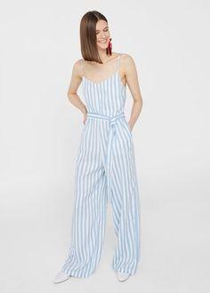 Linen-blend striped jumpsuit - Woman | MANGO Ukraine