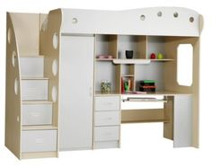 Łóżko piętrowe ULDUM buk/szary | JYSK