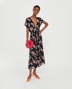 a1560d257fad Image 1 of LONG PRINT DRESS from Zara Zara Dresses