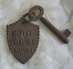 Vintage Large Hotel Key - Hotel Excelsior, Napoli. via Etsy.