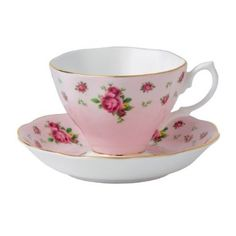 Royal Albert New Country Roses Pink Vintage Formal Teacup & Saucer Boxed Set: Amazon.com: Kitchen & Dining