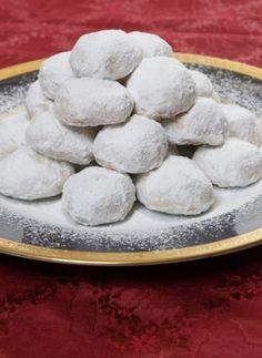 Recipe for Kourabiedes (Almond sugar cookies) Greek Sweets, Greek Desserts, Cookie Desserts, Greek Recipes, Cookie Recipes, Dessert Recipes, Kourabiedes Recipe, Almond Sugar Cookies, Greek Cookies