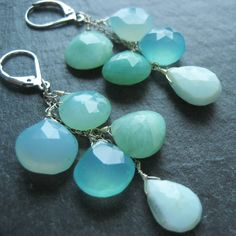 Aqua Blue Lagoon Earrings, Nature Inspired Jewelry Jewellery, Blue Chalcedony & Peruvian Opal Gemstones, Linear Gemstone Earrings. $49.99, via Etsy.