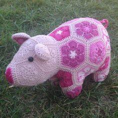 Custom Handmade African Flower teacup Piggy by Lineandloops