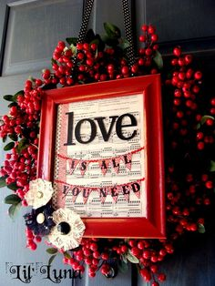 Red valentine wreath and frame