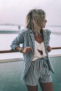 stripe set / white blouse with cutout