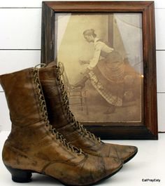 Vintage 1920 Lace Up Edwardian Boots with Picture by EatPrayEtsy, $300.00