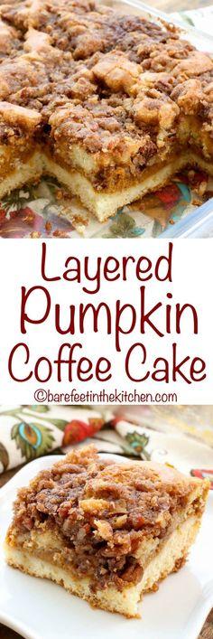 Pumpkin Coffee Cake - get the recipe at barefeetinthekitc. Layered Pumpkin Coffee Cake - get the recipe at barefeetinthekitc.,Layered Pumpkin Coffee Cake - get the recipe at barefeetinthekitc. Köstliche Desserts, Delicious Desserts, Dessert Recipes, Yummy Food, Pumpkin Recipes, Fall Recipes, Holiday Recipes, Pumpkin Foods, Holiday Drinks