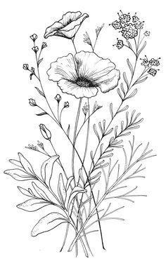 Custom CA Wildflower Tattoo Design from Red Umbrella Designs