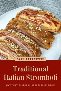 Traditional Italian Stromboli is so pretty to look at and delicious to eat. Ham and pepperoni are wrapped in pizza dough and stuffed with cheese for a delicious party appetizer. Great for as a Super Bowl appetizer or holiday appetizer. Italian Appetizers, Appetizers For Party, Appetizer Recipes, Sandwich Recipes, Italian Meats, Italian Dishes, Italian Recipes, Stromboli Recipe, Calzone