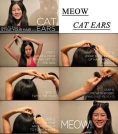 How to Easily Style Your Hair Into Cat Ears - Halloween Diy Hairstyles, Pretty Hairstyles, Perfect Hairstyle, Amazing Hairstyles, Diy Cat Ears, Crazy Hair Days, Ear Hair, Natural Hair Styles, Long Hair Styles