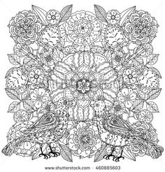 Contoured mandala shaped flowers and butterflies for adult coloring book or art therapy style zen drawing. Hand-drawn, stylish doodle in tatto style, for coloring book or fabric design in vector.