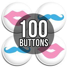 Pink Lips & Blue Mustache Gender Reveal Baby Shower Button Badges - 100 Pack