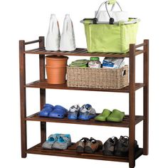 Organize the garage or bring order to your mudroom with this essential storage rack, features slatted shelves and a rich brown finish.