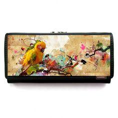 Women's Leather Wallet // Parrot // change purse door ZIZAccessories, $48.00