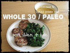 Lunch for #Whole30 while pregnant: pork sliders, kale, sweet potato coconut soup. cc: @whole9life