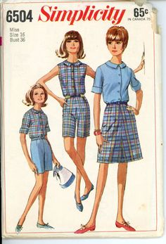 Simplicity 6504 Misses 1960s Summer Separates Pattern Shorts A Line Skirt Bermuda Collar Blouse Womens Vintage Sewing Pattern Bust 36