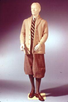 Slide No. 56   1920's  Cardigan sweater, plus-fours/oxford bags, argyle socks, wingtip shoes, club stripe tie.