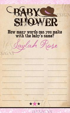 Cowgirl Baby Shower Party Game: Baby Name Game