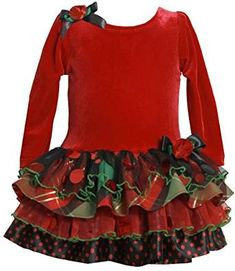 a186826fff2d9 Traditional red Christmas Dress with velour bodice and FUN mixed ruffles  skirt in plaid, polka dots and mesh with foil dots for sparkle by Bonnie  Jean!