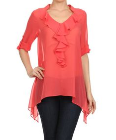 Another great find on #zulily! Coral Ruffle Sidetail Top by Come N See #zulilyfinds