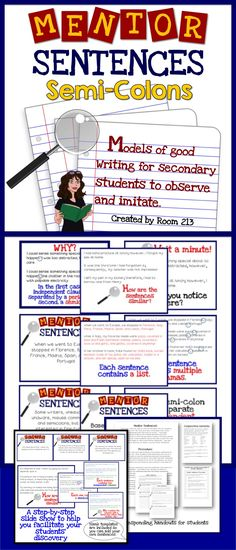 Mentor Sentences for semi-colon use. A comprehensive, easy-to-use slideshow, plus student handouts. Grammar And Punctuation, Teaching Grammar, Teaching Language Arts, Grammar Lessons, Teaching Writing, Teaching English, Writing Classes, Writing Lessons, Writing Services