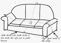 PATRONES DE COSTURA : CÓMO MEDIR UN SOFÁ PARA CONFECCIONAR UNA FUNDA Reupholster Furniture, Furniture Upholstery, Sewing Hacks, Sewing Crafts, Sewing Projects, Armchair Slipcover, Slipcovers, Furniture Covers, Chair Covers