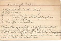 Vintage Kris Kringle Cookies Handwritten Recipe