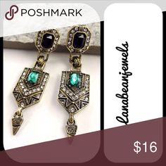 Show stopper earrings! Geometric style earrings with hints of black and green. Very unique design! Post back earrings Jewelry Earrings