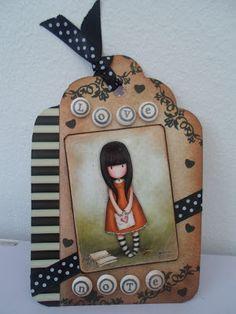 Gorjuss Girls / Craftwork Cards Shabby Vintage Tag