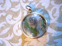 Vintage Lucite Bubble Pendant with Tiny SEAHORSE by charmingellie, $21.00