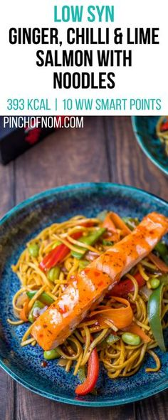 Low Syn Ginger Chilli Lime Salmon with Noodles Pinch Of Nom Slimming World Recipes 393 kcal 1 Syn 10 Weight Watchers Smart Points Slimming World Noodles, Slimming World Dinners, Slimming World Diet, Slimming Eats, Slimming World Recipes, Slimming Workd, Super Healthy Recipes, Healthy Dinner Recipes, Cooking Recipes