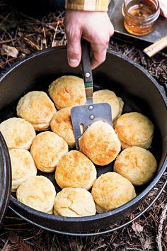 Shasta, California, learned to make these biscuits from his grandmother. Fun Baking Recipes, Dutch Oven Recipes, Cooking Recipes, Dutch Oven Meals, Skillet Recipes, Drink Recipes, Bread Recipes, Chicken Recipes, Camping Meals