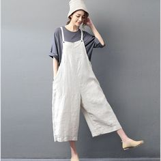 BUYKUD 2018 Summer Women Casual Jumpsuits & Rompers Cotton Linen Loose Beige Overall Calf-Length Plus Size Pants With Pocket Mode Hippie, White Linen Shirt, Casual Jumpsuit, Pink Jumpsuit, Tailored Jumpsuit, Jumpsuit Outfit, Dresses Short, Plus Size Pants, Loose Sweater