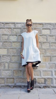 New 2016 Autumn Sexy Off White Dress / Thick Cotton Dress /Side Pockets / Short Sleeves Dress / Extravagant Party Dress A03486