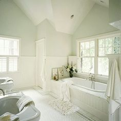 cottage style bathroom designs | That House on The Corner: A little inspiration... bathroom edition. Like the gray walls with the white