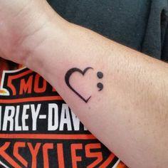 100% sure I will never find someone | Decor your wrist with pretty looking half heart and semi colon tattoo ...