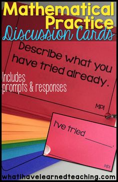 Help students talk about their mathematical thinking with discussion cards that prompt students by Mathematical Practice Standard and provide sentence frames for responses.