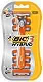 BIC 3 Hybrid Rasierer Set Männer / Männer Rasierer mit 3 Klingen / Auch für empfindliche Haut / Minimiert Hautirritationen / 1 Rasiergriff mit 6 Wechsel-Klingen