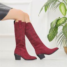 Paperna Süet Mürdüm Diz Altı Western Çizme  #burgundy #longboots #boots #suede #heels #western #bordo #süet #çizme #topuklu #kovboy Knee Boots, Heeled Boots, Western Boots, Burgundy, Heels, Fashion, High Heel Boots, Heel, Moda
