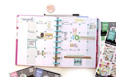 August monthly view in the 'Be Bright' Happy Planner™ of mambi Design Team…